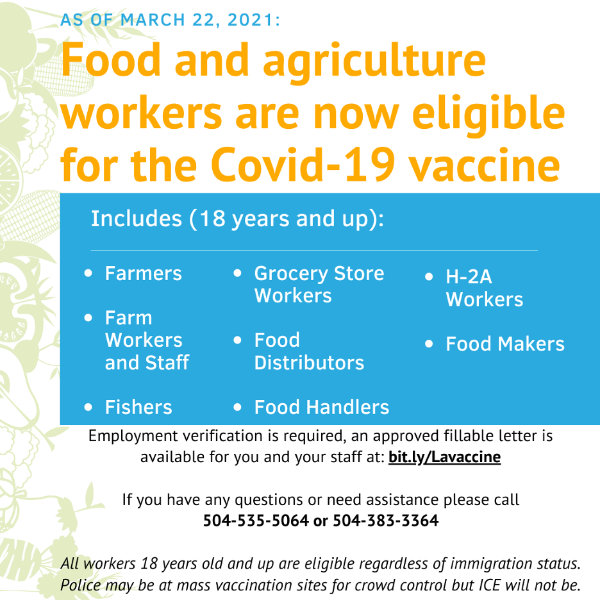 Vaccine for Food Workers